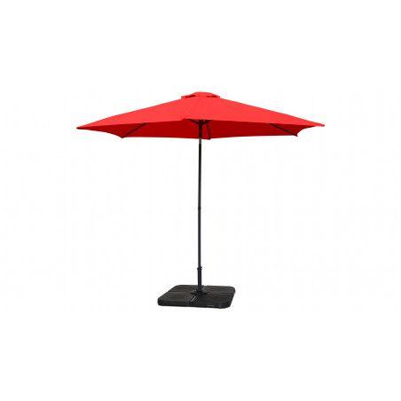 Parasol droit rouge inclinable 3 m