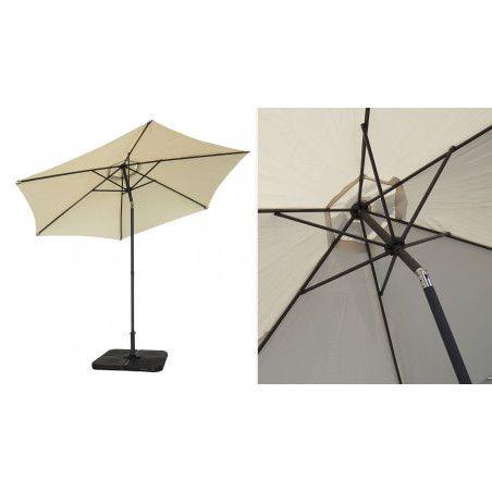 Parasol beige 3 m aluminium octogonal