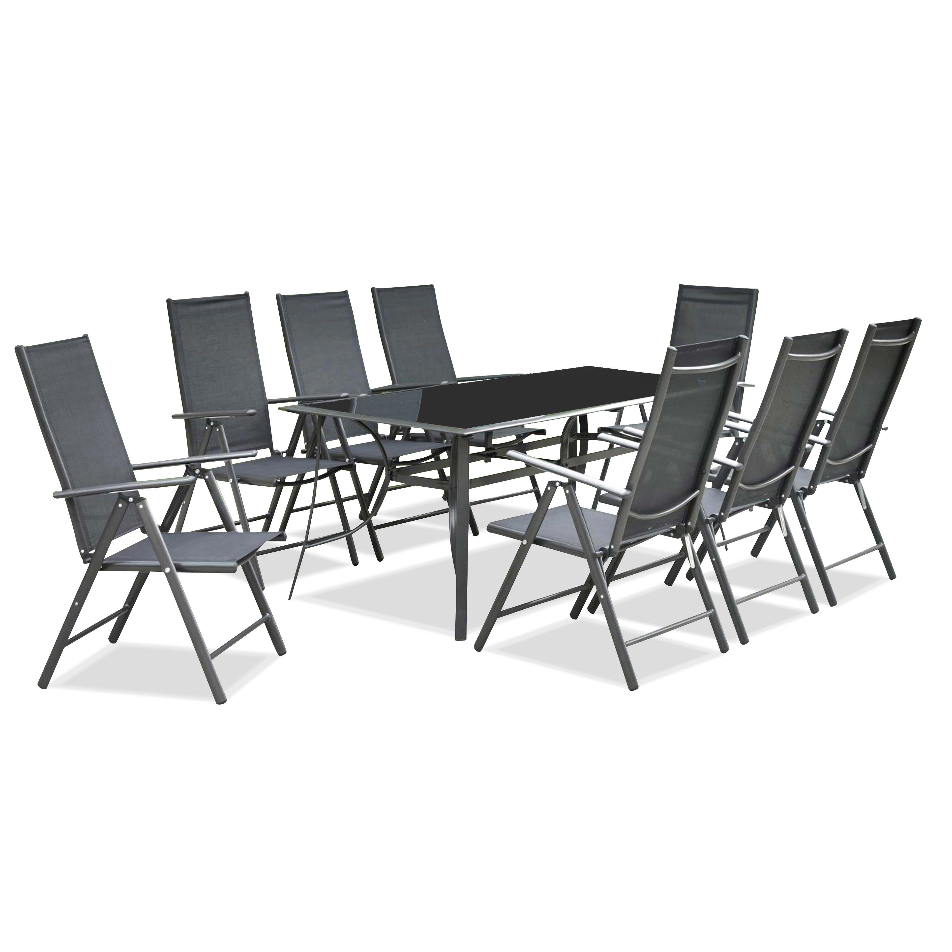Salon de jardin aluminium et verre 8 personnes