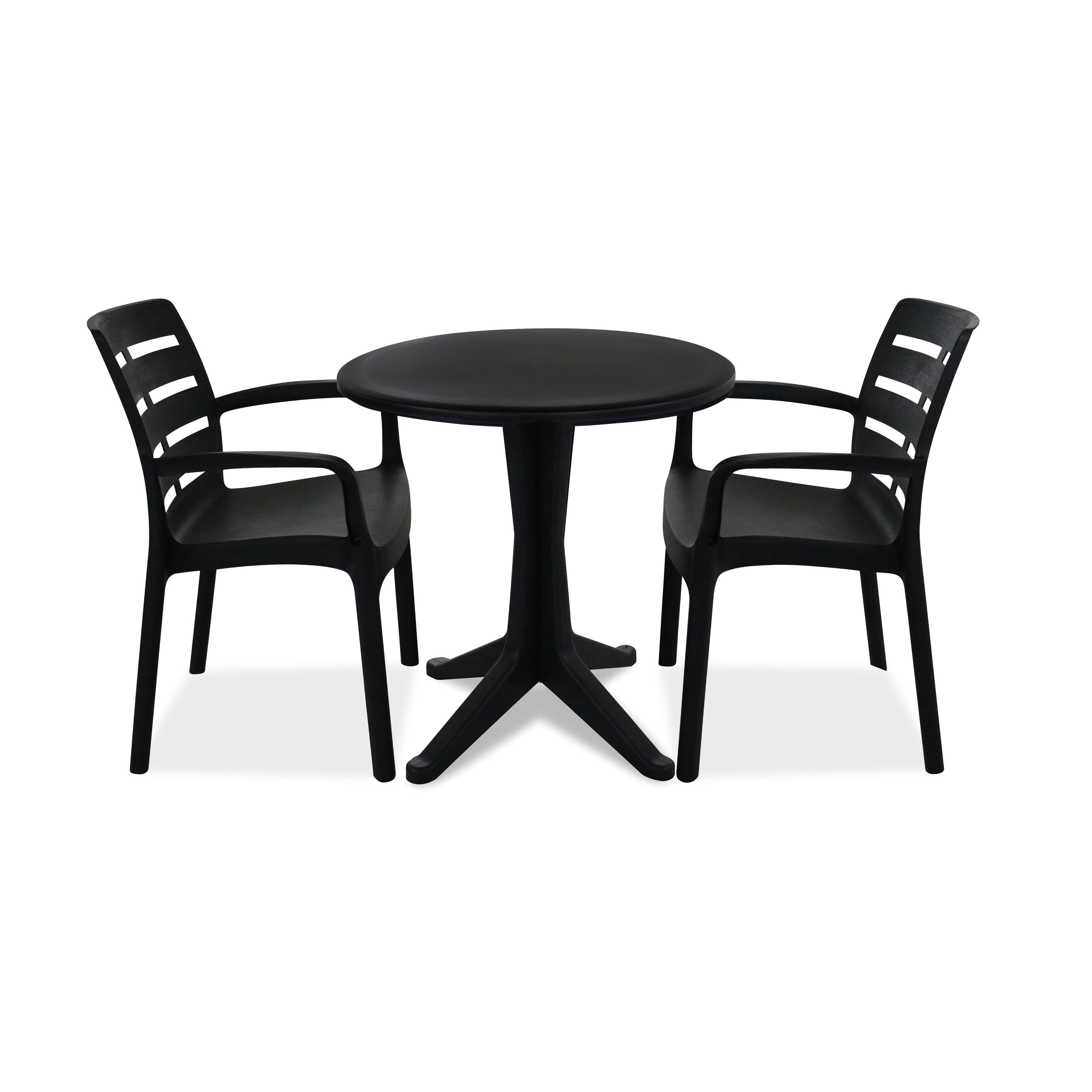 table de jardin ronde en plastique fauteuils. Black Bedroom Furniture Sets. Home Design Ideas