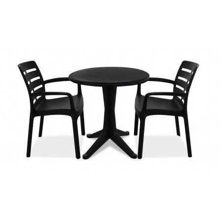 Table de jardin ronde bistrot et chaises grises