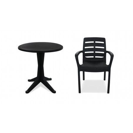 Table en PVC gris foncé et chaise de jardin