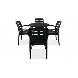 Table de jardin carrée en pvc gris et chaises de jardin grises plastique
