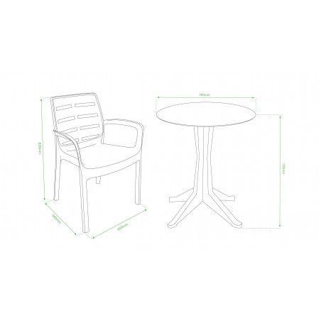Fiche technique chaise plastique pvc empilable avec accoudoirs