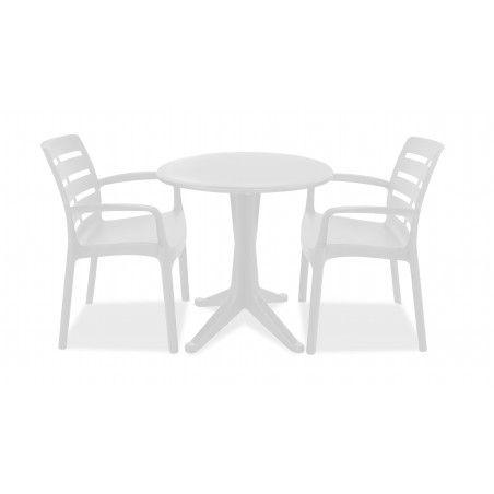 Table de jardin ronde bistrot et chaises blanches