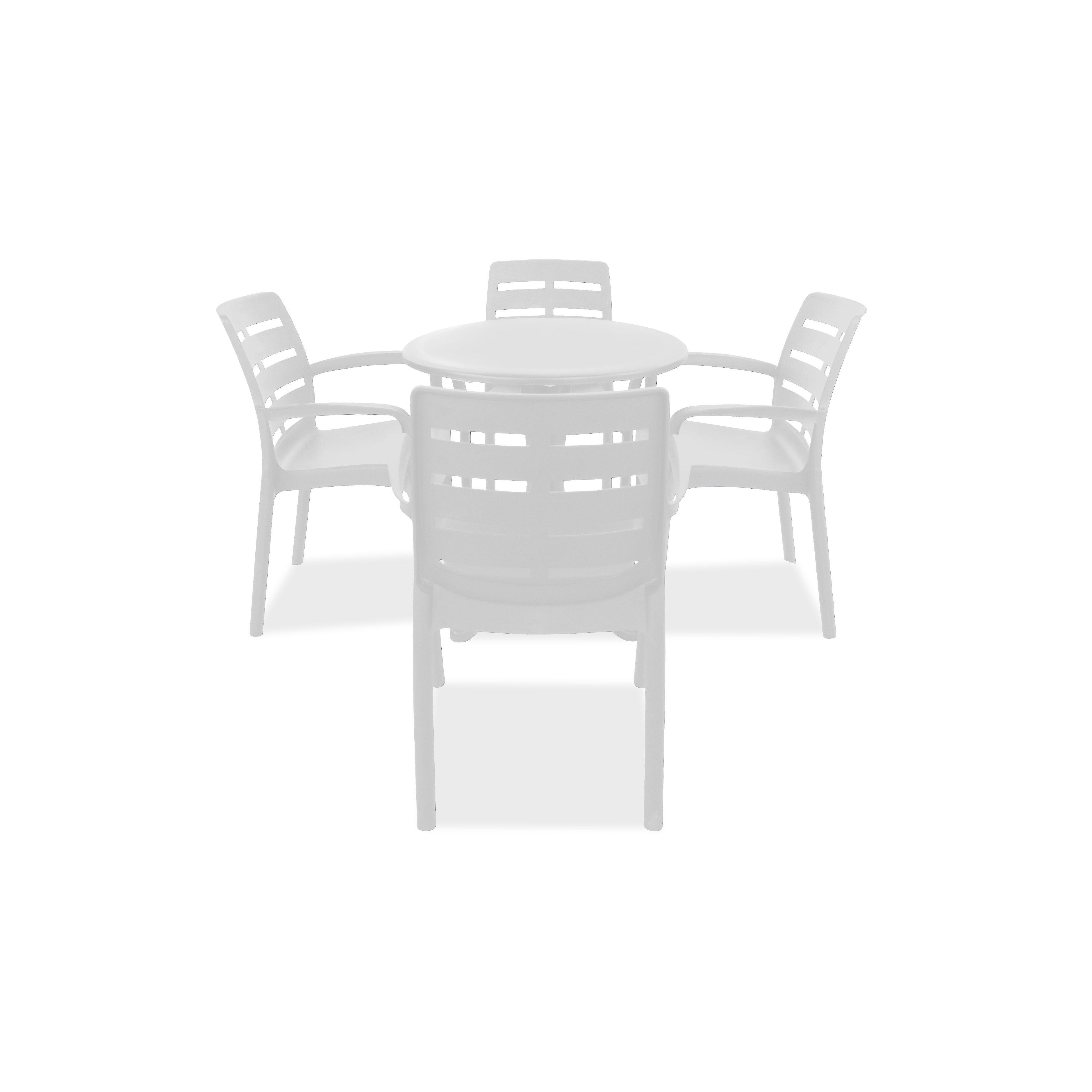 Table De Jardin Ronde En Pvc Blanc Et Chaises Blanches Plastique