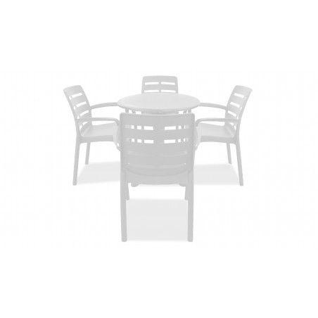 Table de jardin ronde en pvc blanc et chaises de jardin blanches plastique
