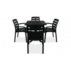 Table jardin carrée et fauteuils plastique gris