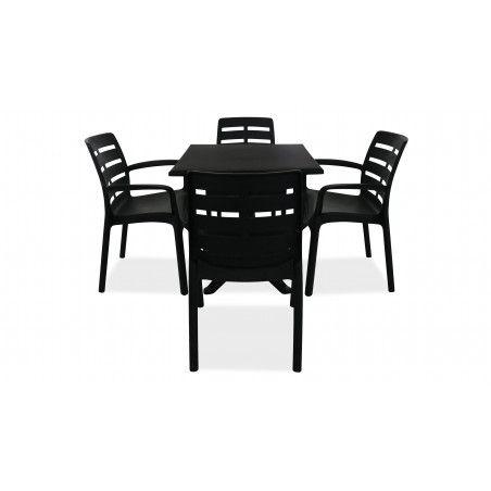 Table de jardin carrée en plastique et 4 fauteuils