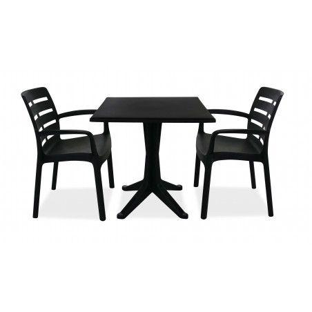 Table bistrot grise carrée en plastique et 2 chaises