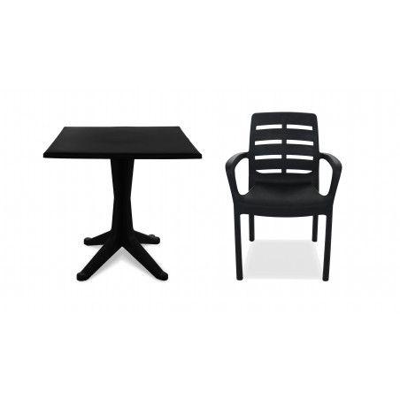 Table de jardin carrée grise en PVC fauteuil de terrasse grise en plastique