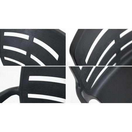 zoom dossier chaise plastique grise avec accoudoirs