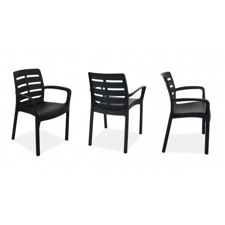 chaise plastique grise avec accoudoirs