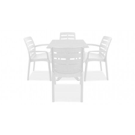 Table jardin carrée et fauteuils plastique blanc