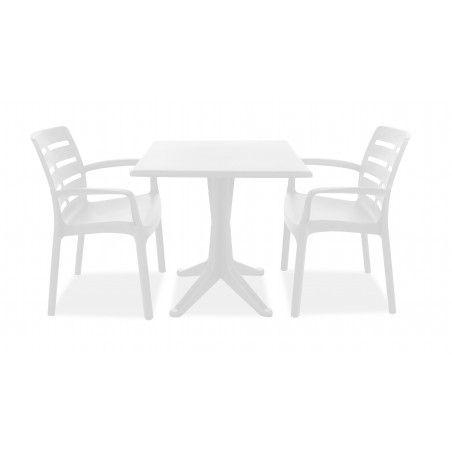 Table de jardin carrée blanche en PVC fauteuil de terrasse blanc en plastique