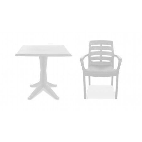 Table carrée et 4 fauteuils plastique