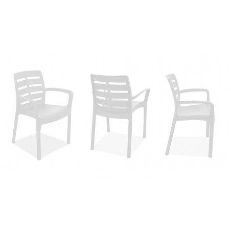 chaise de jardin blanche en PVC avec accoudoirs Oviala