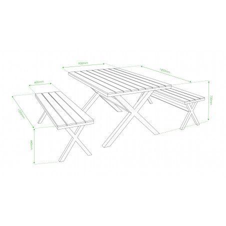 Salon de jardin 1 table et 2 bancs