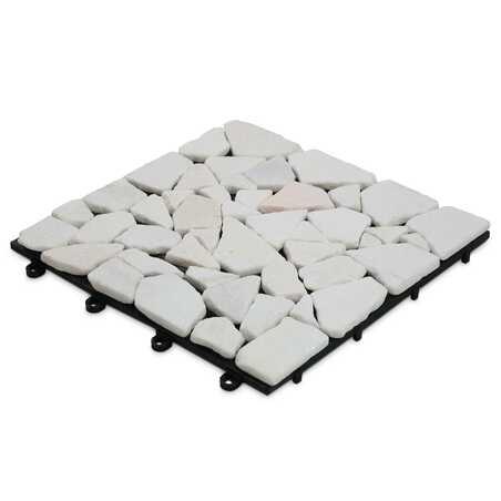 Dalle de terrasse clipsable en galets de marbre blanc