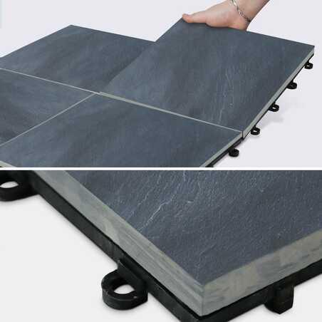 Dalle de terrasse clipsable en pierre noire