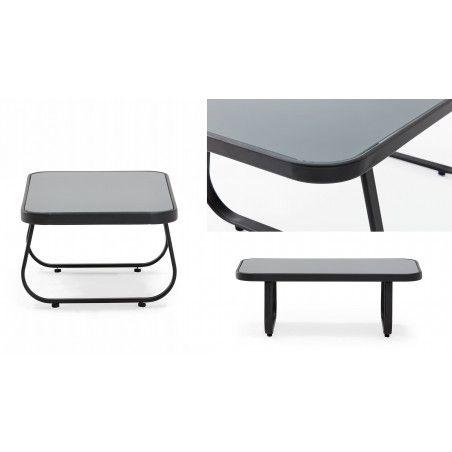 Table basse de jardin grise acier et verre