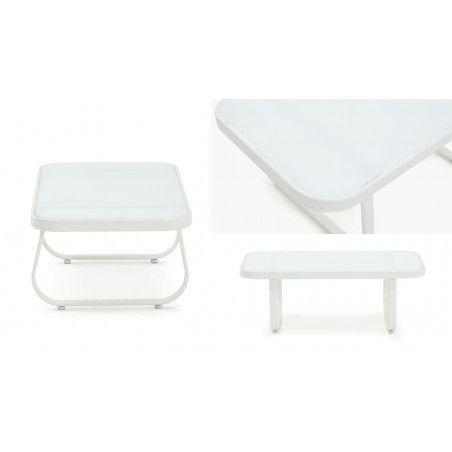 Table basse de jardin blanche acier et verre