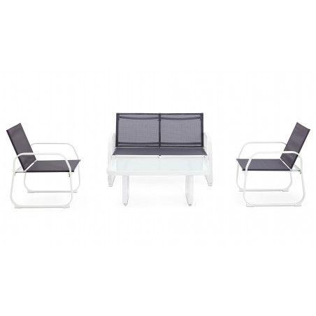 Salon de jardin 4 places gris et blanc