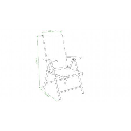 Lot de 4 fauteuils de jardin multi-positions dimensions