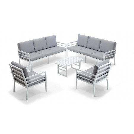 Salon de jardin 8 places, 2 canapés, 2 fauteuils, 1 table basse