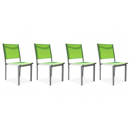 Lot de 4 chaises de jardin vertes empilables Ajaccio