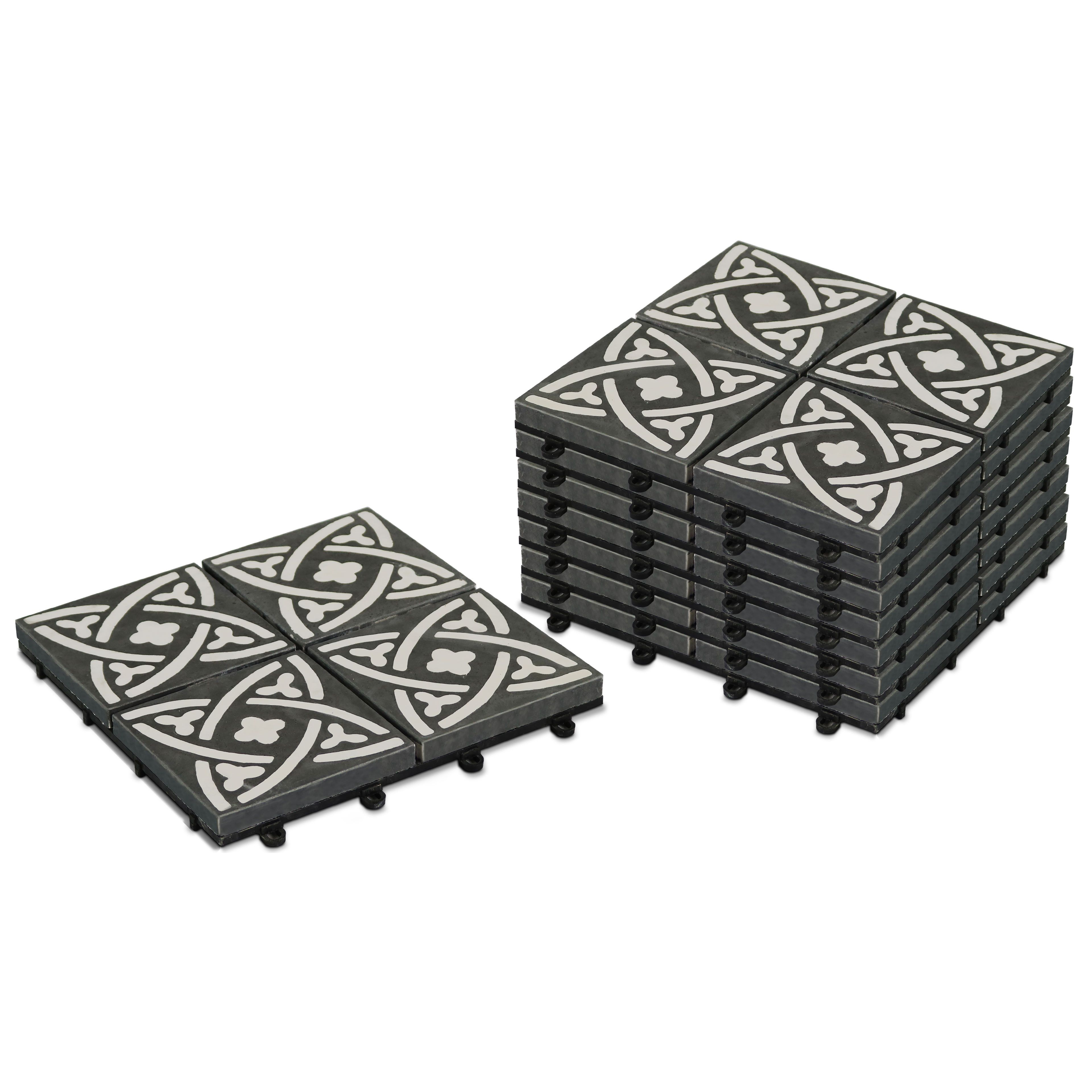Salon De Jardin Carreau De Ciment dalles terrasse carreaux ciment clipsables | oviala