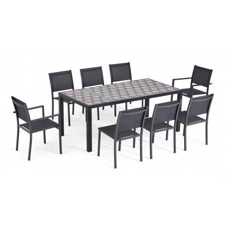Table de jardin 8 places en aluminium et céramique motif Tripod