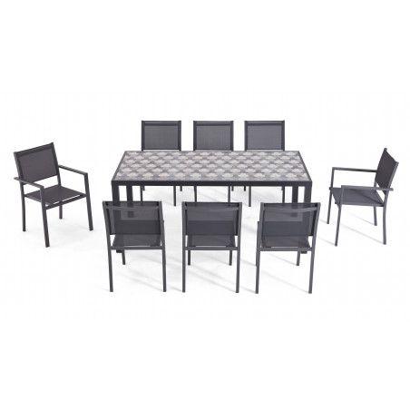 Table de jardin en aluminium et céramique motif Tripod, 6 chaises, 2 fauteuils