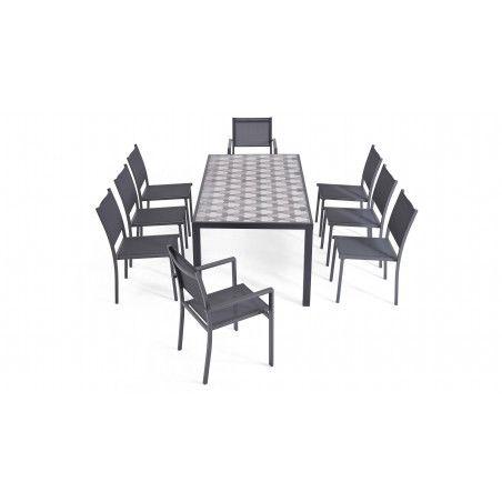 Ensemble table et chaise de jardin en aluminium et céramique motif Tripod, 6 chaises, 2 fauteuils