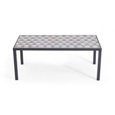 Table de jardin en aluminium et céramique motif Tripod