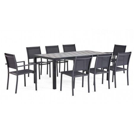 Salon de jardin 8 personnes en aluminium et céramique motif Tripod, 1 table, 6 chaises, 2 fauteuils