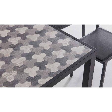 Zoom matière table d'exterieur en aluminium et céramique motif Tripod | TIVOLI