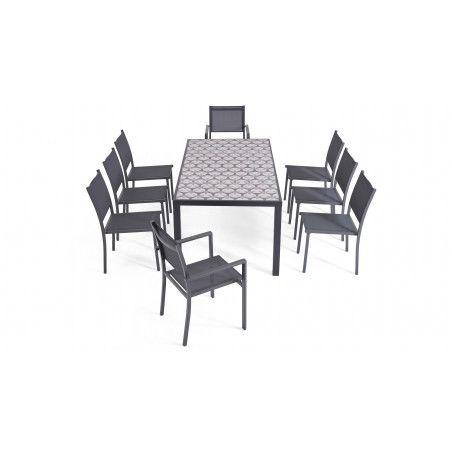 Salon de jardin 8 personnes en aluminium et céramique motif Cross, 1 table, 6 chaises, 2 fauteuils