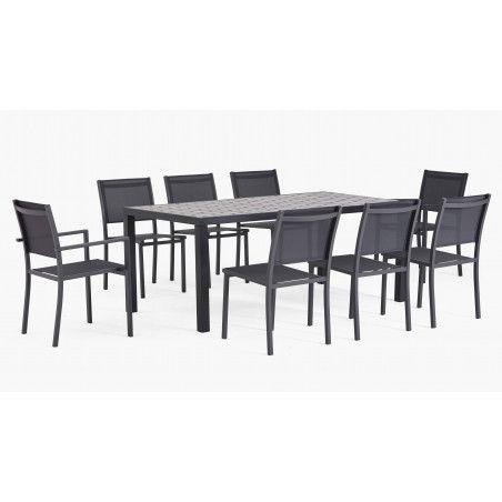 Table de jardin 8 personnes en aluminium et céramique gris anthracite, 1 table, 6 chaises, 2 fauteuils