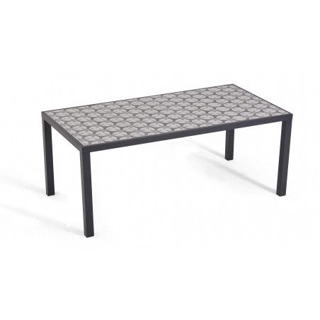 Table de jardin 8 places en aluminium et céramique motif Cross | TIVOLI