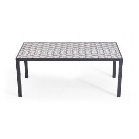 Table de jardin 8 places structure aluminium gris et plateau en céramique motif Cross | TIVOLI