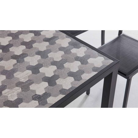 Table de jardin en céramique 8 places motif Tripod
