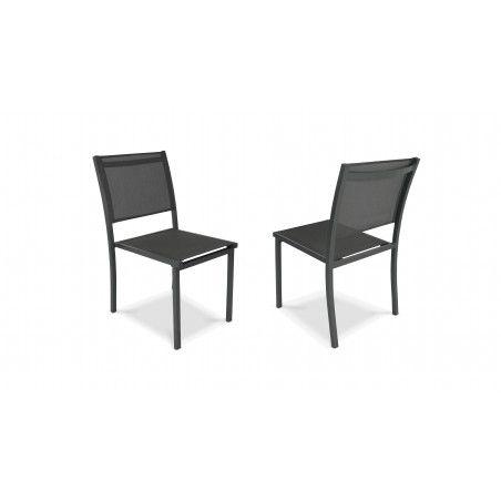 Chaise de jardin gris anthracite en aluminium et textilène | TIVOLI