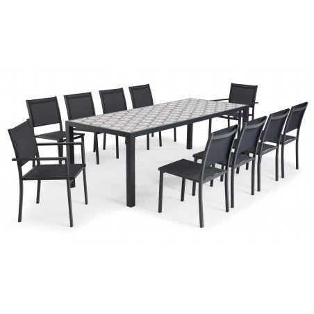 Salon de jardin table en céramique 10 places motif Cross