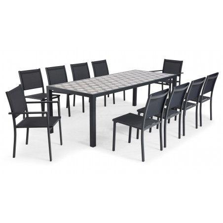 Salon de jardin 10 places table en céramique motif tripod