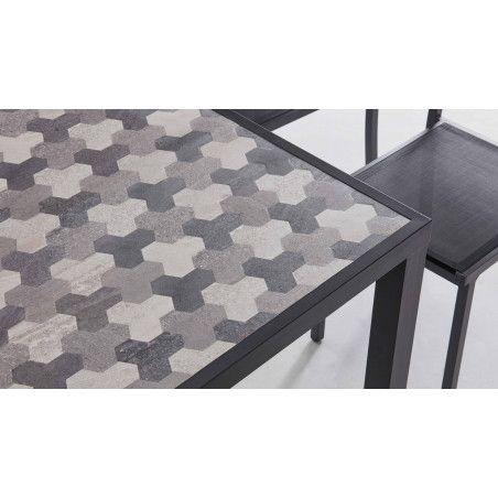 Table de jardin 10 places avec plateau en céramique motif Tripod