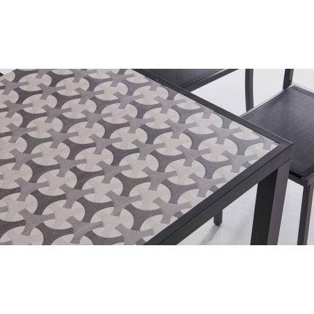 Table de jardin zoom plateau en céramique 10 places motif Cross