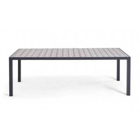 Table en aluminium et plateau céramique motif Cross   TIVOLI