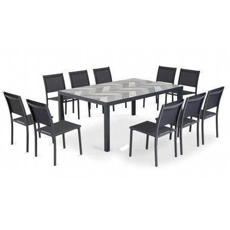 Salon de jardin 10 places, table plateau céramique motif Arrow