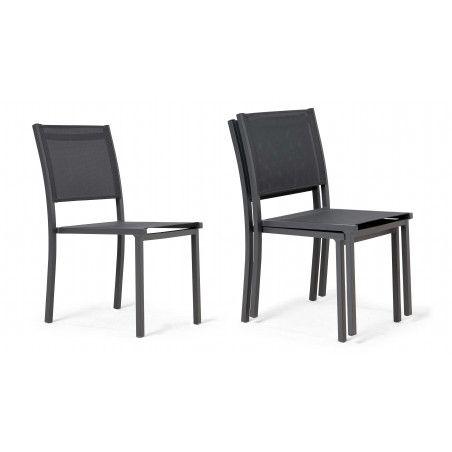 chaise de jardin empilables aluminium gris foncé | TIVOLI